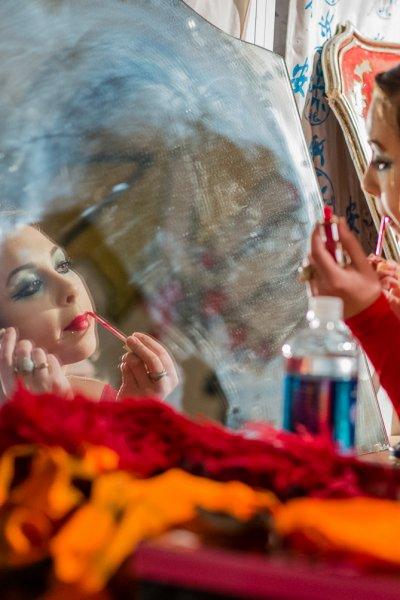 Applying Makeup Backstage