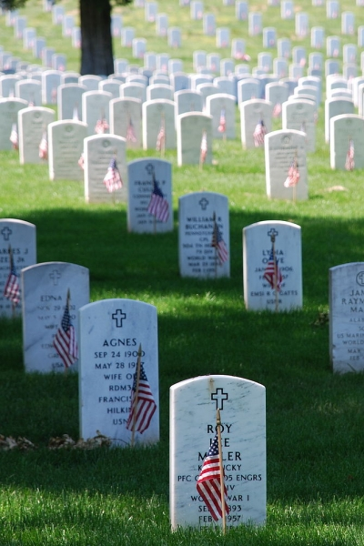 Graves Decorated With Flags