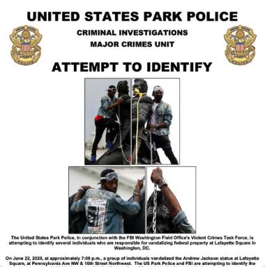U.S. District Court D.C. Arrests Four For Andrew Jackson Statue  Toppling Attempt