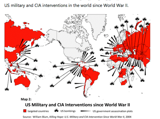 US military and CIA interventions world-wide since World War II.